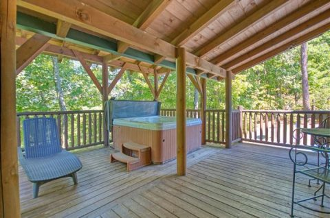 Large Deck with Hot Tub and Chairs - Mystic Ridge