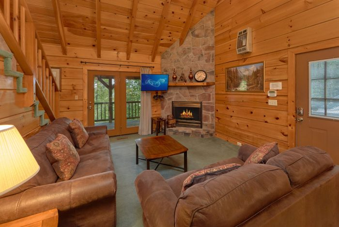 Living Room with fireplace in 2 bedroom cabin - Oakland #3