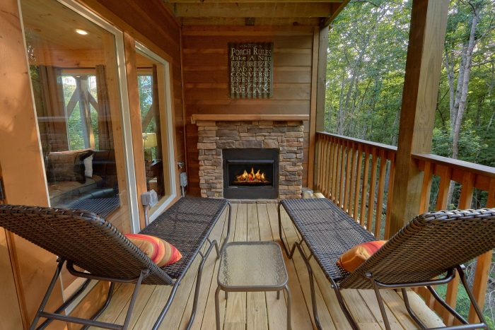 Outdoor Fireplace on Deck 2 Bedroom Cabin - Pool N Around