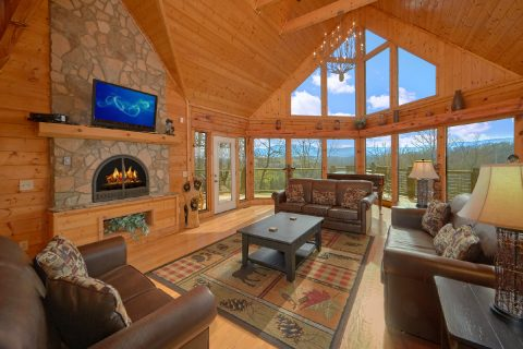 Premium 7 bedroom cabin with Stone Fireplace - Rocky Top Lodge