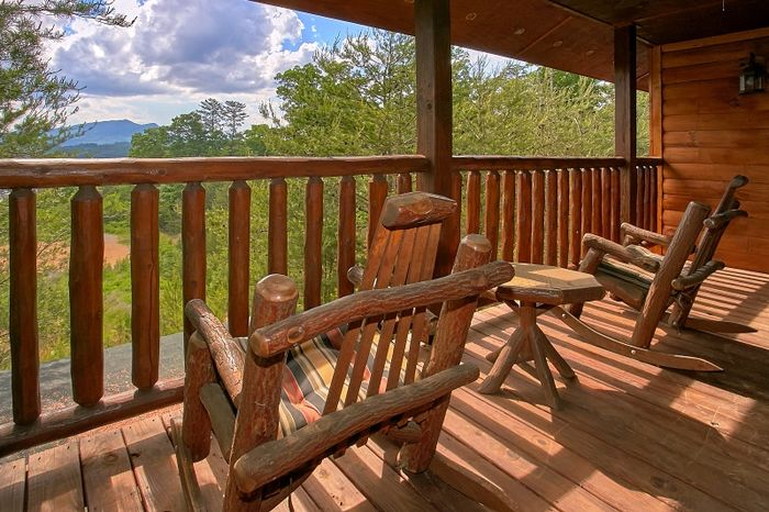 Cabin with Covered Porch and Rocking Chairs - Simply Irresistible