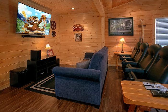 Theater Room in 2 Bedroom Rental Cabin - Simply Irresistible
