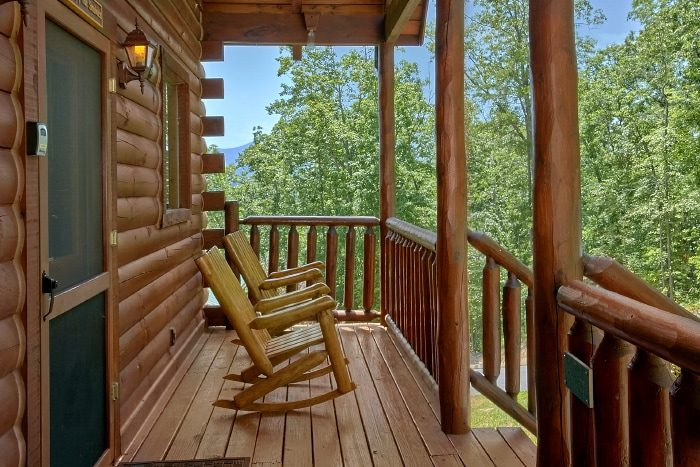 Cabin with Rocking Chairs, Covered Deck and View - Simply the Smokies