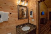 King bedroom with bath in 3 bedroom cabin rental
