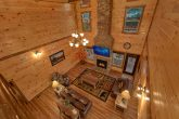 Beautiful stone fireplace in luxury cabin rental