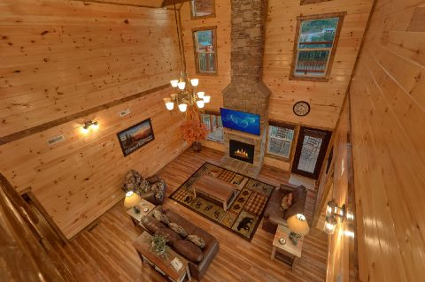 Beautiful stone fireplace in luxury cabin rental - Smoky Bear Lodge