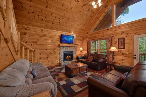 7 Bedroom Cabin with Fireplace in Living Room - Smoky Mountain Lodge