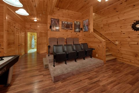 Theater room with stadium seating in 7 bedroom - Smoky Mountain Lodge