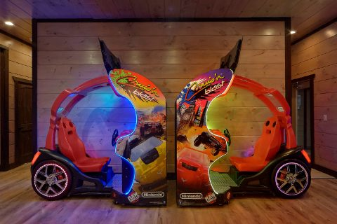 2 Race Car Arcade Games in 15 bedroom cabin - Smoky Mountain Masterpiece