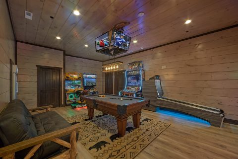 Cabin game room with Arcade games and pool table - Smoky Mountain Masterpiece