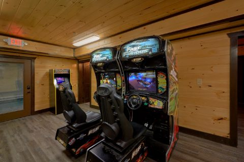 Cabin with Fast and Furious Race Car Arcade game - Smoky Mountain Memories