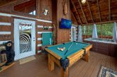 2 bedroom cabin with pool table and hot tub