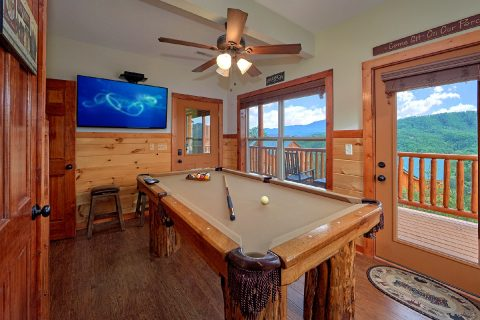 Pool Table and TV in 2 Bedroom Cabin game Room - Splash Mountain Lodge