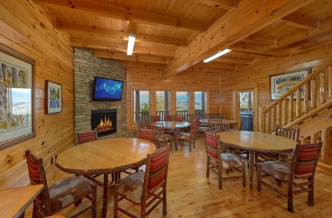 Dining Room with fireplace and Mountain Views - Summit View Lodge