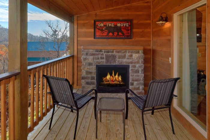 Outdoor Fireplace on Deck 2 Bedroom Cabin - Swimming Hole