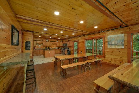 Dining room for 40 guests in 11 bedroom cabin - The Big Lebowski