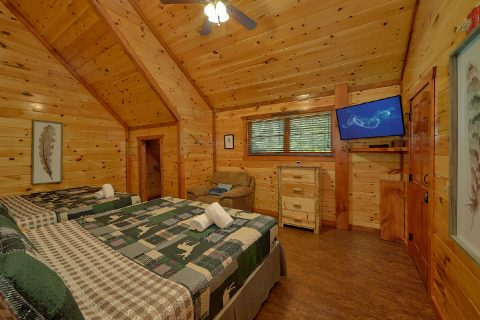 Double King bedroom with TV in 11 bedroom cabin - The Big Lebowski