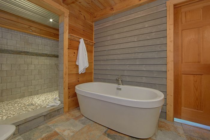 1 Bedroom Cabin Sleeps 4 Master Bath Room - The Overlook