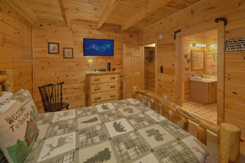 Rustic Cabin bedroom with TV and Private Bath - Wander Back Inn