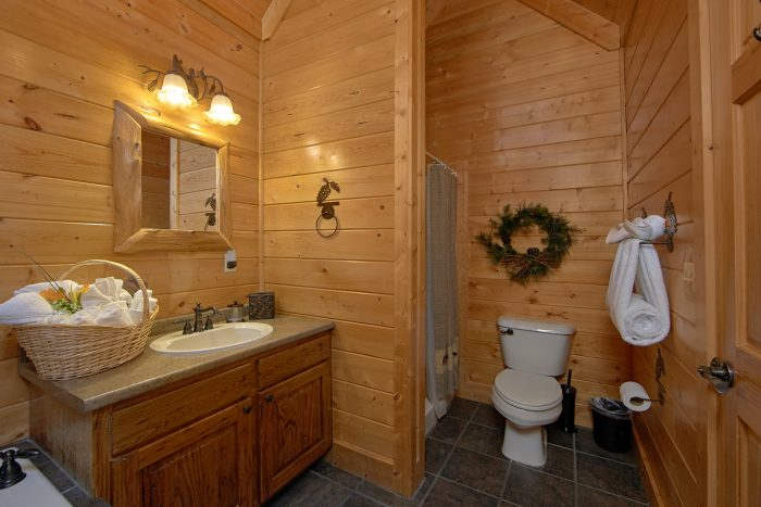 Private Master Bath with Jacuzzi in Cabin - Wilderness Lodge