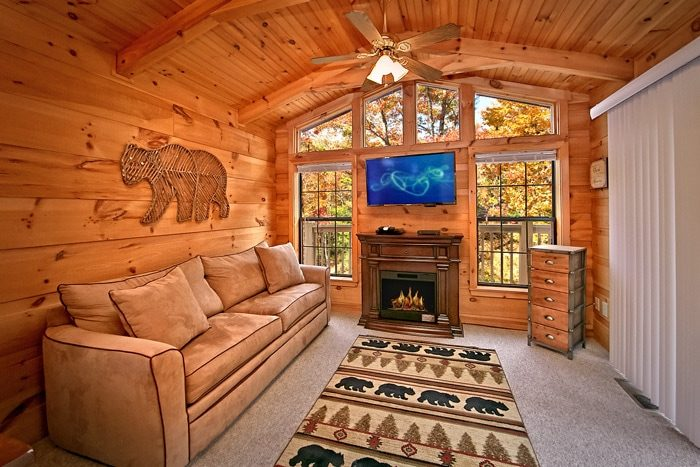 Cabin with electric fireplace and TV - Wonderland
