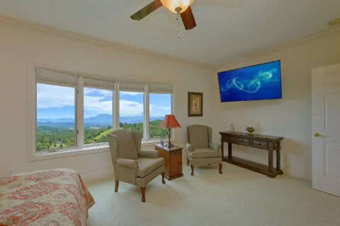 Master Bedroom with King Bed and Flatscreen TV - Wow! What A View